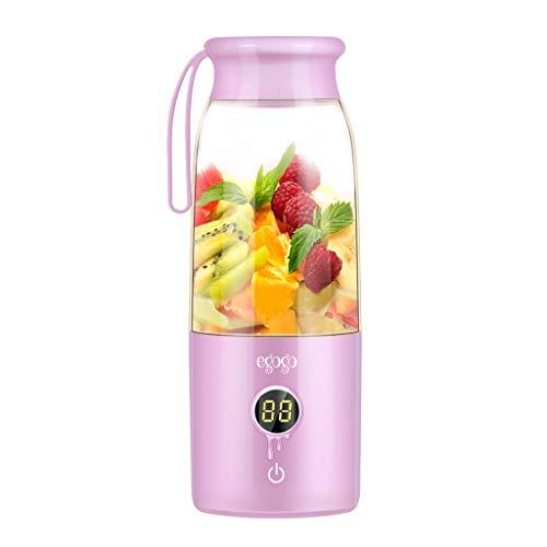 Sulifor Juicer LED Digitalanzeige - 420ML, Juicer Mini tragbarer Mixer Usb Juicer Frucht Smoothie Cup (Rosa)