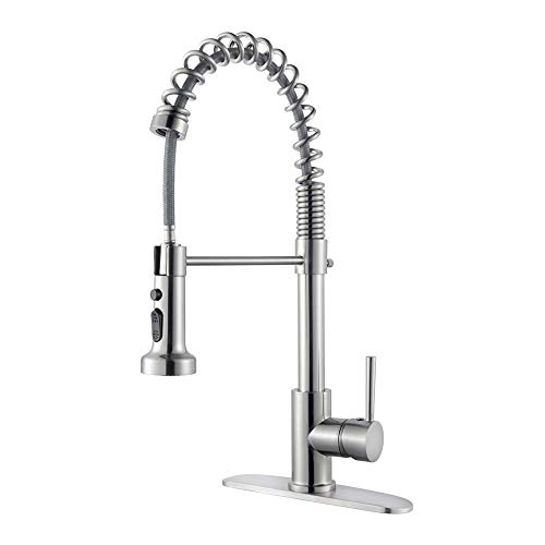 Pull Down Kitchen Sink Faucet - Sarlai Lead-Free Best Modern Commercial Pull Down Sprayer Stainless Steel Brushed Nickel Kitchen Faucet,Single Handle Pull Out Kitchen Sink Faucet With Deck Plate