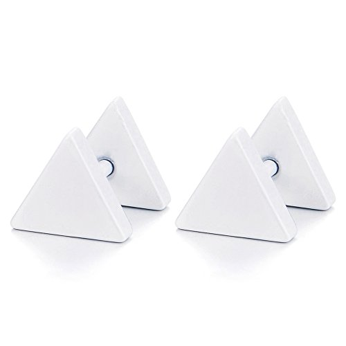 5MM Bianco Triangolo Orecchini da Uomo Donna, Finto Dilatatore Fake Cheater Plug Gauges, Acciaio, 1 Paio