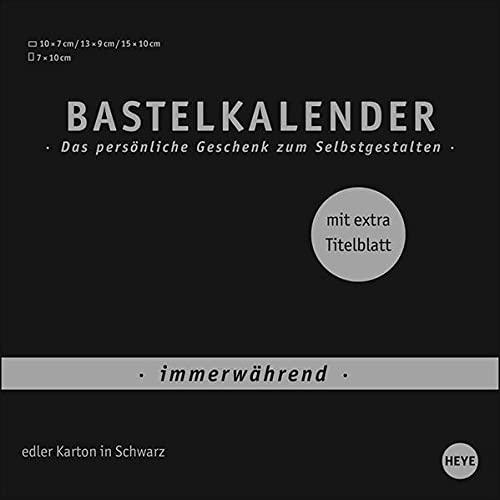Bastelkalender Premium immerwährend schwarz klein - edler Karton in Schwarz - mit extra Titelblatt und jahresunabhängigem Monatskalendarium - Format 17,5 x 17,5 cm