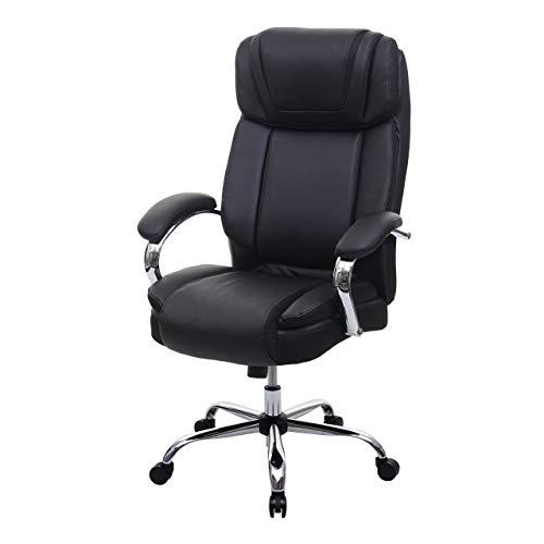 Mendler XXL Bürostuhl HWC-H94, Drehstuhl Schreibtischstuhl Chefsessel, 220kg belastbar Federkern Kunstleder ~ schwarz