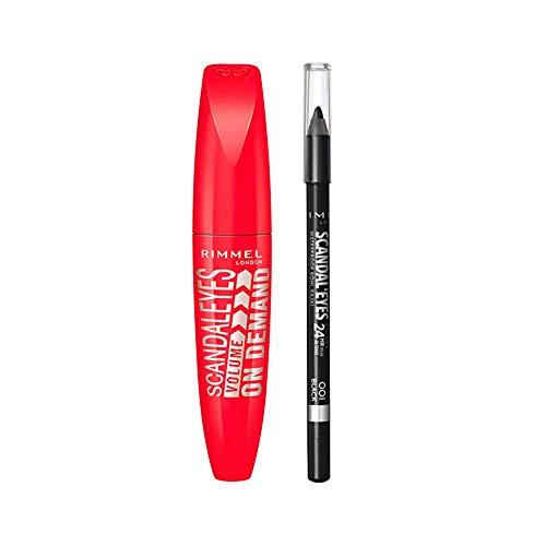 Rimmel London Look Ojos: Máscara Volume on Demand Tono 1 Black + Eyeliner Scandaleyes Khol Kajal Waterproof Tono 1