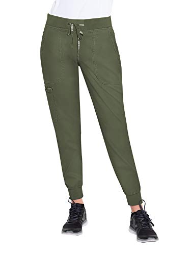 Med Couture Touch Women's Jogger Yoga Scrub Pant, Olive, X-Large Petite