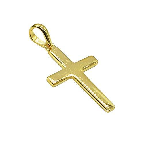 Colgante de plata de ley 925 con diseño de cruz chapado en oro, ligero y simple con cadena.