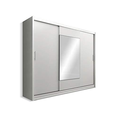 Selsey Keir - Schiebetür Kleiderschrank mit großem Spiegel Weiß Matt