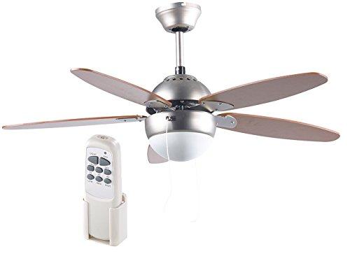 Sichler Haushaltsgeräte Ventilator: Deckenventilator VT-597 m. Holzflügeln, Beleuchtung, Fernbed, Ø 92 cm (Deckenventilator mit Licht)