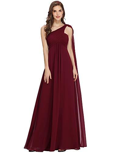 Ever-Pretty Womens One Shoulder Empire Waist Long Prom Dress 6 US Burgundy