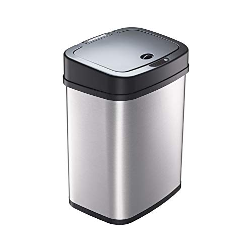 Ninestars DZT-12-5 Bedroom or Bathroom Automatic Touchless Infrared Motion Sensor Trash Can, 3 Gal 12L, Stainless Steel Base (Rectangular, Black Lid)