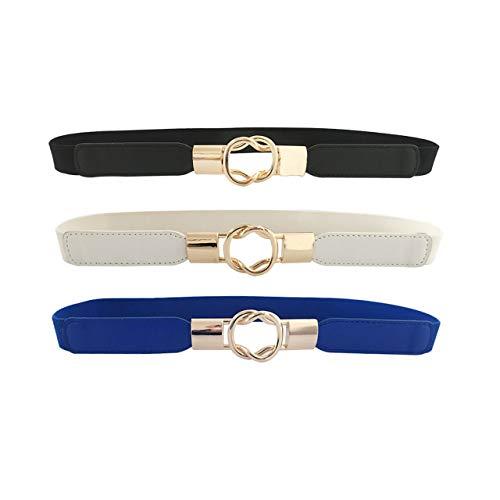 CHIC DIARY Cinturón elástico estrecho para mujer, estilo sencillo, elegante, vintage, cintura elástica para vestidos, vaqueros