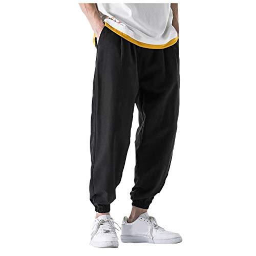 Reooly Pantalones de harén a Rayas Ligeras Pantalones de Jogging Ocasionales de Verano para Hombres Pantalones de Lino Sueltos de Fitness