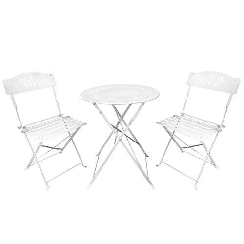 SUNDO Bistro Set aus Metall, Balkonmöbel Set 3 Teilig, Gartenset klappbar, Balkon Set aus 1 x runder Tisch und 2 x Stühlen, Bistrogarnitur für Balkon Garten Terrasse (Weiß)