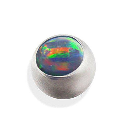 eeddoo Piercingkugel Schraubkugel Opal Silber Edelstahl Schwarz 3 mm