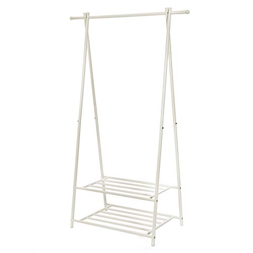 SONGMICS Coat Rack, Coat Stand, Clothes Rack with 2-Tier Storage Shelf for Shoes and Baskets, Metal Frame, Space-saving, Ideal for Bedroom, Entryway, Office and More, Creamy White HSR05W