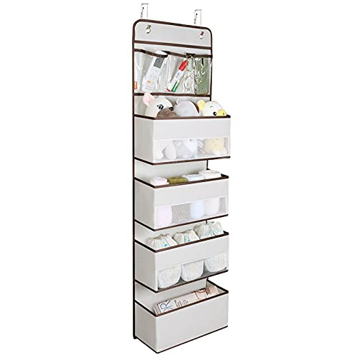 Univivi Door Hanging Organizer Nursery Closet Cabinet Baby Storage with 4 Large Pockets and 3 Small PVC Pockets for Cosmetics, Toys and Sundries (Grey) (5 Layers - Beige)