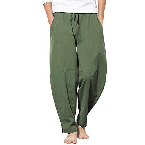 Xniral Herren Einfarbig Haremshose Lässige Hose aus Loser Baumwolle und Leinen Lose Jogginghose Komfort Lange Hose(Grün,M)