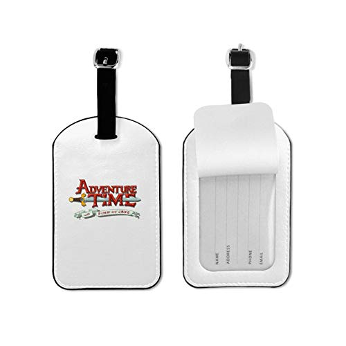 Adv-enture Time Luggage Tag with Name ID Card Colorful Secure Travel Suitcase Bag Baggage Tag Labels Microfiber PU Leather 2.7inchx4.3inch
