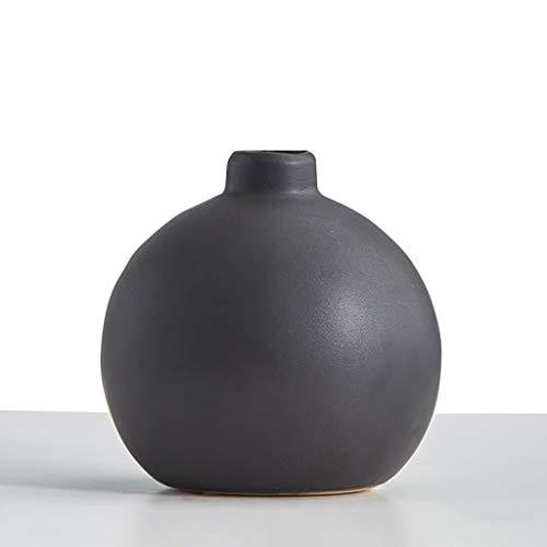 Z-W-DONG Ronde keramische vaas, kunstmatige bloem Valse Bloem Bloem Container Balcony Vensterbank decoratieve Vazen Black Vase Desktop Makkelijk te gebruiken (Color : Black)