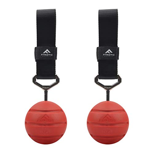FITactic 3.5 Inches Groove Rock Climbing Solid Training Cannonball Bomb Power Pull Up Ball Hold Grips for Straps for Finger, Forearm, Biceps, Back Muscles (2 Balls, Red Groove 3.5)