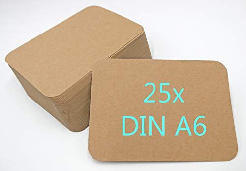 25er Pack Kraftpapier Kraftkarton Karten A6 300g/m² Bastelkarton braun runde Ecken blanko Postkarten zum selbst gestalten
