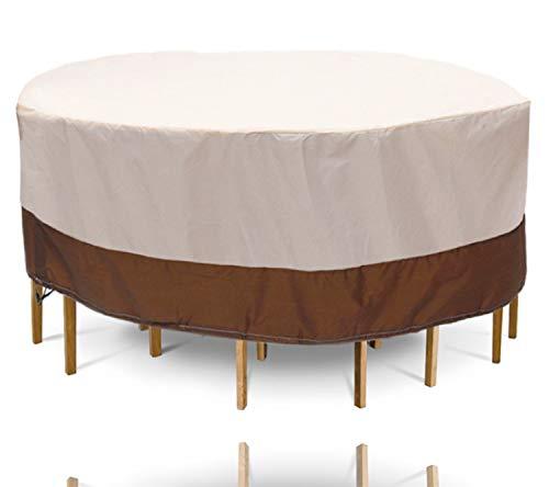 TK Gruppe Timo Klingler XXL Tisch Abdeckhaube 120 cm rund - Abdeckplane beige, Gartentisch Abdeckung - Plane für Tisch & Gartenmöbel als Schutzhülle