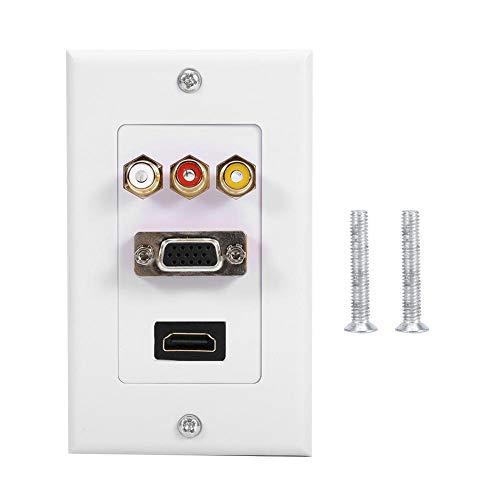 Cafopgrill houder voor wandplaten, multimedia, 1 HDMI + 1 VGA + 3 RCA composiet audio/video jackplug voor het bouwen van kantoren thuis hotel