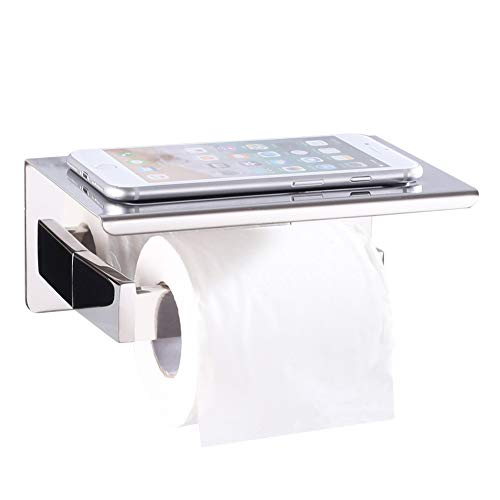 Toilet Paper Holder with Shelf, Angle Simple SUS304 Stainless Steel Bath Tissue Holder, Toilet Roll Hanger with Phone Rack, Toilet Paper Dispenser with Storage Shelf, Polished Chrome