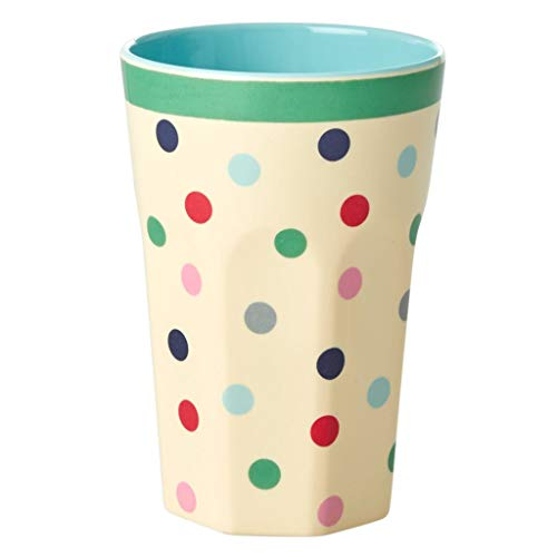 Rice - Melamin Becher - Latte Cup - Belive in Red Lipstick - Dots - Bunte Punkte - 400 ml