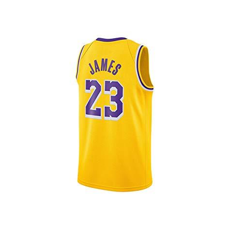 RAAVIN Lebron James#23, La Maglia da Basket, Los Angeles Lakers, Nuovo Tessuto Ricamato, Stile Sportivo,Giallo(L)