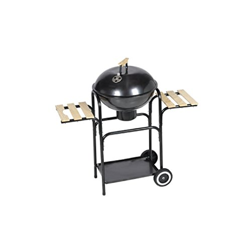 Tidyard Kugelgrill Nevada Holzkohle-Grill Nevada Kettle Barbecue Steel Gas Barbecue with L Control in Lid Two Shelves