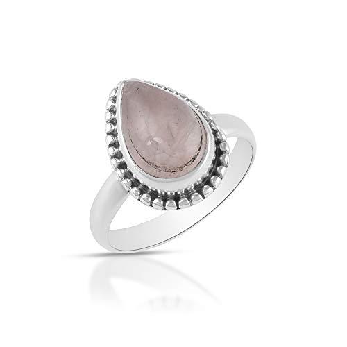 Sechi By Siblings Anillo minimalista de plata de ley 925 con piedra de nacimiento de cuarzo rosa para mujeres y niñas