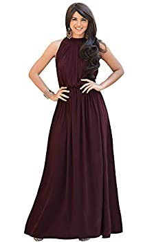 KOH KOH Womens Long Sexy Sleeveless Bridesmaid Halter Neck Wedding Party Guest Summer Flowy Casual Brides Formal Evening A-line Gown Gowns Maxi Dress Dresses Maroon Wine Red M 8-10