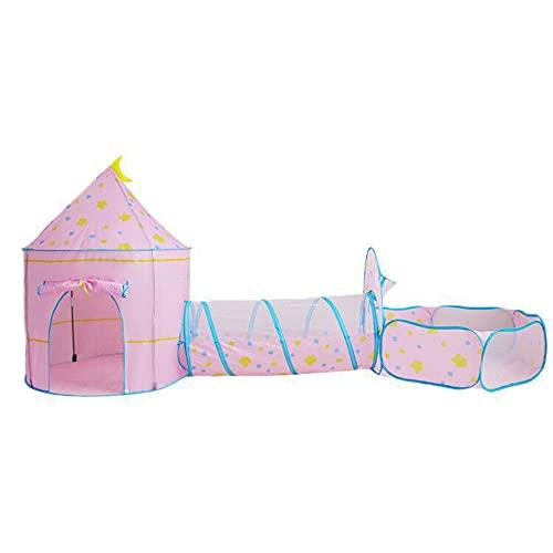 LIALIYA Kids Play Tents Crawl Tunnel, Carpa de casa de Juegos para niñas, niños para Exteriores e Interiores, Castillo, cumpleaños, día de los niños, Halloween, año Nuevo, Rosado