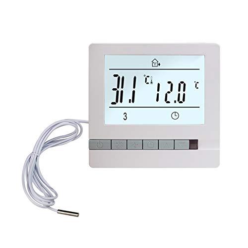 XIAOFANG Fangxia Store Termostato de calefacción de Piso 220V 16A Controlador de Temperatura programable LCD con Sensor de Temperatura 3M