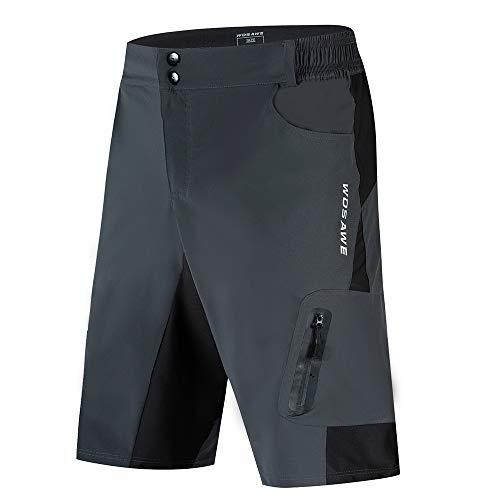 Lixada Pantalones Cortos de Ciclo Holgados de Hombres, Transpirables Sueltos, para MTB de los Deportes al Aire Libre (Gris, L)