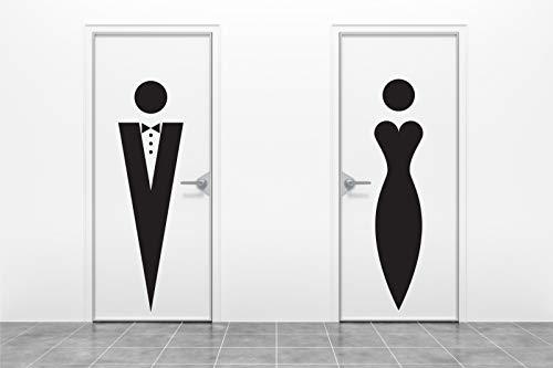 Adhesivo profesional Qu para inodoro de mujer y hombre, diseño de silueta en perchero de noche
