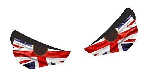Std Par Evil Ojos con Bandera Británica Reino Unido Motivo para Casco de Moto Etc. Vinilo Aspecto Desgastado Pegatina Adhesivo para Coche 55x40mm Cada Uno Aproximadamente