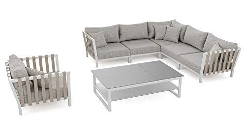 ARTELIA - Atika Gartenmöbel Lounge Aluminium - Luxus Esstisch Set für Garten, Terrasse, Terrassenmöbel Gartenmöbelset weiß