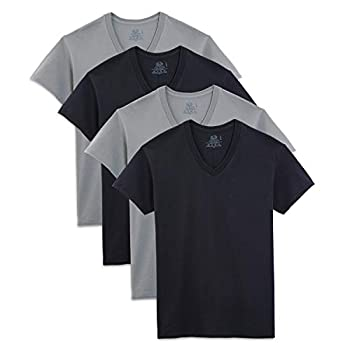 Fruit of the Loom Men s Extended Sizes V-Neck T-Shirt Black/Gray XXX-Large Pack of 4