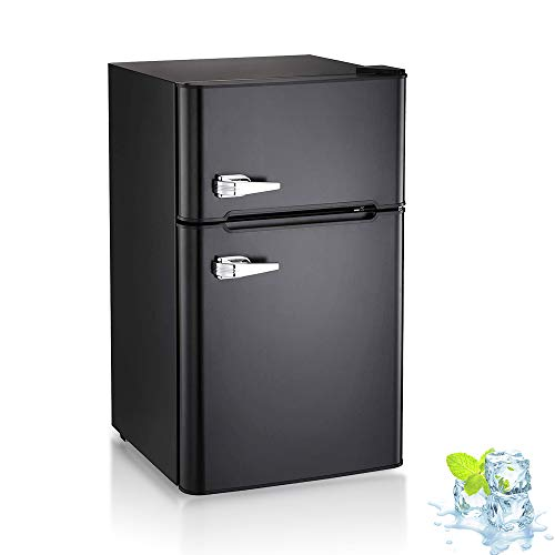 Kismile Double Door 3.2 Cu.ft Compact Refrigerator with Top Door Freezer,Freestanding mini Fridge with Adjustable Temperature,Upright Freezer for Apartment,Home,Office,Dorm or RV (Black)