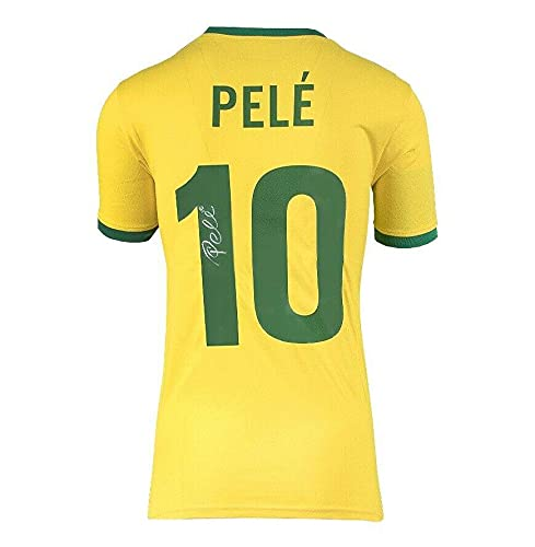 Pele Signed Brazil Shirt 1970 Style – Number 10 Autograph Jersey – Autographed Soccer Jerseys