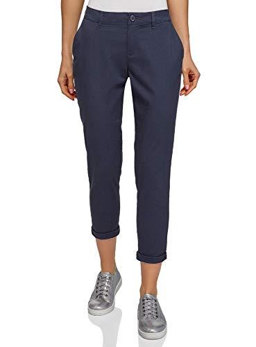 oodji Ultra Mujer Pantalones Chinos de Algodón, Azul, 34