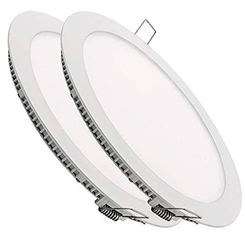 Pack 2x Downlight LED Panel Extraplano Redondo 20W. Color Blanco Frio (6500K). Corte Standard. 1800 Lumenes.