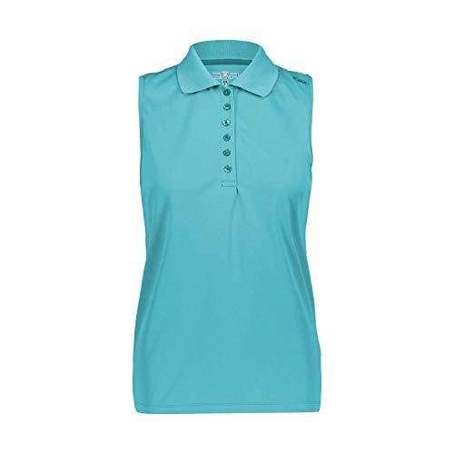 CMP Damen Poloshirt Einfarbiges Ärmelloses Poloshirt, Ceramic, D44, 3T59776