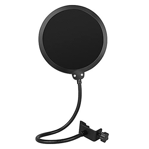 InnoGear 6 Zoll Mikrofon Popschutz Studio Mikrofon Absorber-Filter Mic Schirm Runde Form Wind Pop Filter Maske Schild mit Stand Clip (schwarzer Filter)