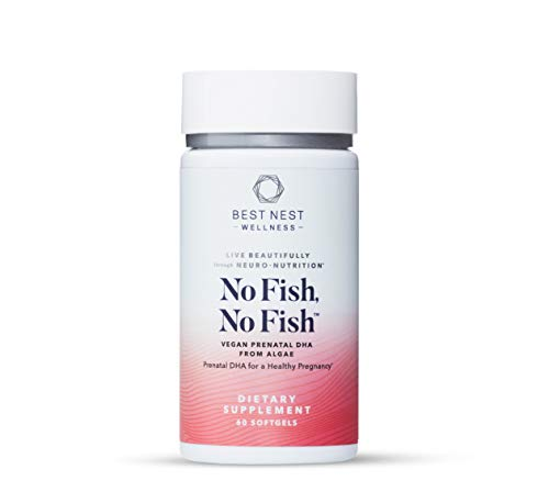 No Fish No Fish Vegan Prenatal DHA, Algae Omega 3 Supplements, Supports Baby's Brain and Eye Development During Pregnancy and Lactation, Easy to Swallow, 60 Ct, Best Nest Wellness