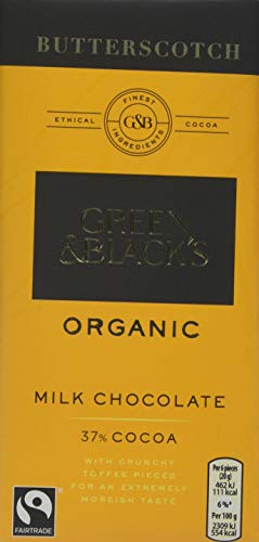 GREEN & BLACK'S Organic Milk Chocolate Butterscotch Bar 100g pack of 5.