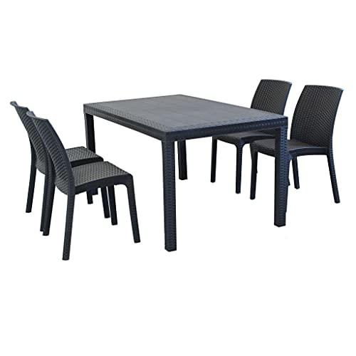 MilaniHome Set Tavolo da Giardino Rettangolare Fisso Cm 150 X 90 con 4 Sedie in Wicker Stampato Antracite da Esterno Giardino