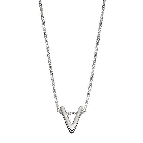 Beginnings - Collar de plata de ley 925 para mujer, adolescente, niña, hombre, niño, letra V, unisex, 41 cm + 5 cm