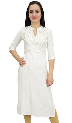 Bimba Blanc Designer Tunique Kurta Kurti Parti Ethnique Indienne Femmes Wear-40