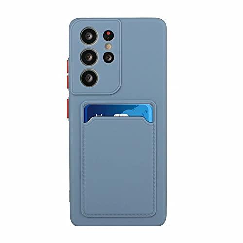 TYWZ Kartenfach Weich Hülle für Samsung Galaxy Note 20 Ultra,Dünn Silikon Built-in Kartenhalter Schale Back Cover Schutz Tasche Kratzfest Bumper-Asche